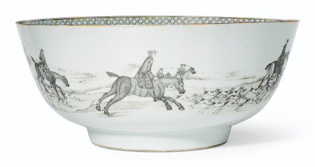 A LARGE GRISAILLE HUNTING BOWL