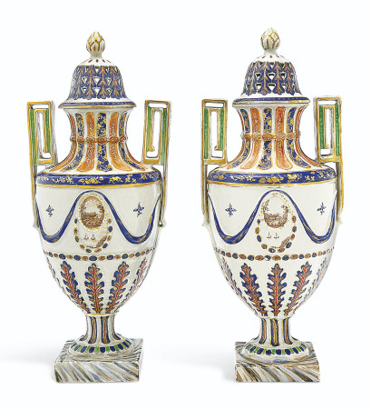 A LARGE PAIR OF TWO-HANDLED VASES AND COVERS