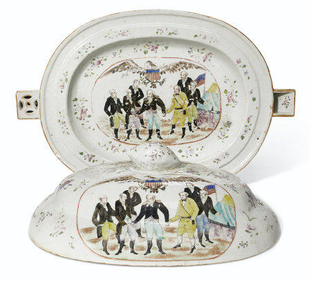 A 'SURRENDER OF BURGOYNE' HOT WATER PLATTER AND COVER