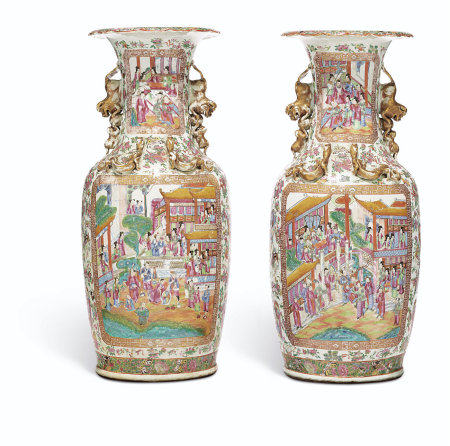 A VERY LARGE PAIR OF 'CANTON FAMILLE ROSE' VASES