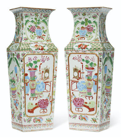 A LARGE PAIR OF 'CANTON FAMILLE ROSE' VASES