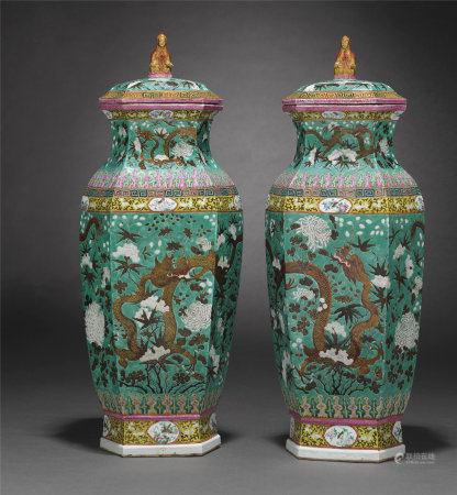 A MASSIVE PAIR OF TURQUOISE GROUND VASES AND COVERS