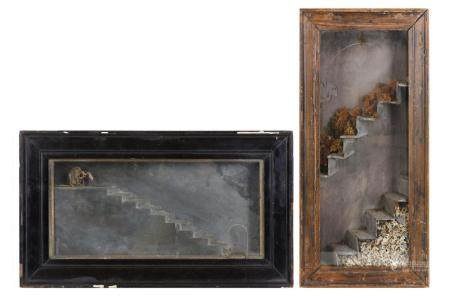 TWO GOTHIC STYLE SLATE AND BONE DIORAMAS