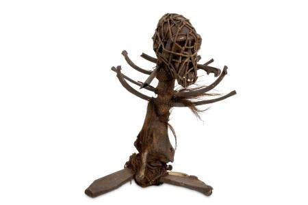 A 19TH CENTURY AFRICAN WITCH DOCTOR STAFF (FETISH) FORMED FR