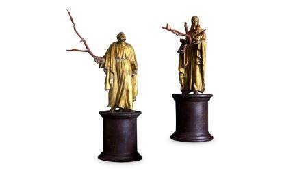 A PAIR OF 19TH CENTURY ITALIAN GILTWOOD AND COPPER FIGURES O