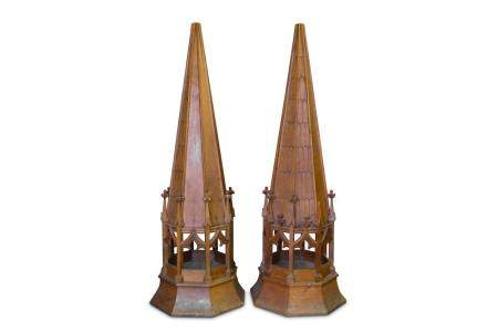 A VERY LARGE PAIR OF LATE 19TH CENTURY FLOOR STANDING OAK OB