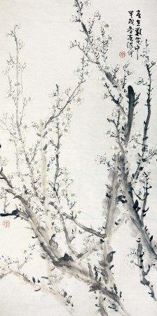霍春阳(b.1946) 春在花中