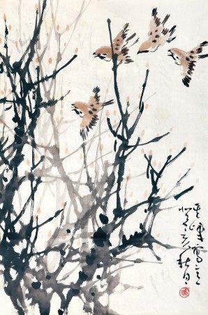 孙其峰(b.1920) 春枝麻雀