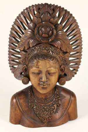 Hardhouten buste van de godin Shri Dewi, Bali, tweede kwart 20e eeuw - H. 37 cm -