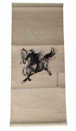 Scroll met voorstelling van galopperende paarden, naar Xu Beihong -