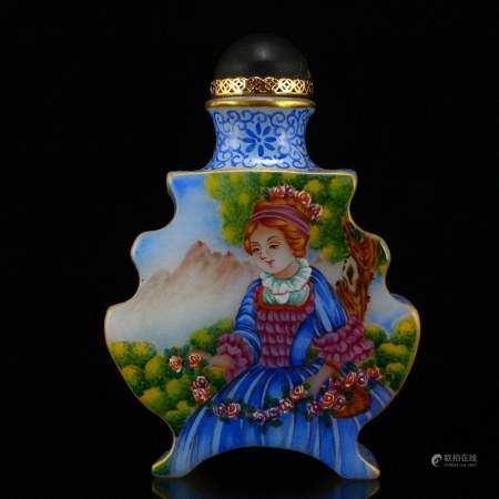 Superb Gilt Gold Peking Glass Figures Snuff Bottle