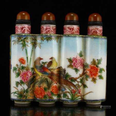 Peking Glass Conjoined Snuff Bottle - Flowers & Birds