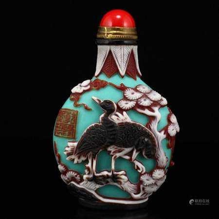 Vintage Peking Glass Cranes & Pine Tree Snuff Bottle
