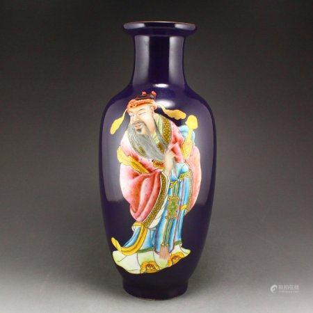 Chinese Purple Ground Famille Rose Porcelain Vase