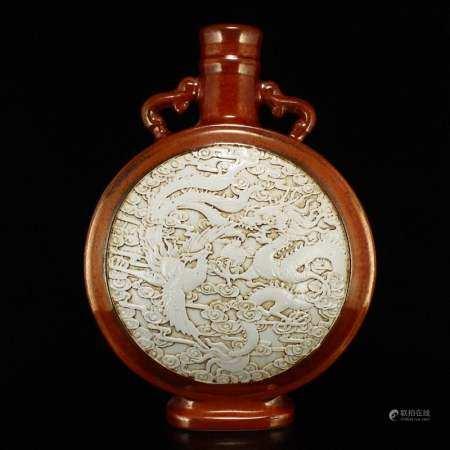 Low Relief Dragon Phoenix Double Ears Porcelain Vase