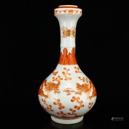 Chinese Gilt Edge Iron Red Glaze Porcelain Vase