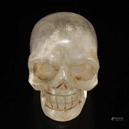 Vintage Chinese Natural Crystal Skull Statue