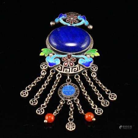 Chinese Silver Inlay Lapis Lazuli & Agate Pendant