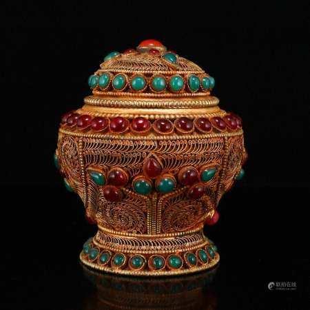 Vintage Tibetan Buddhist Silver Inlay Gems Pot