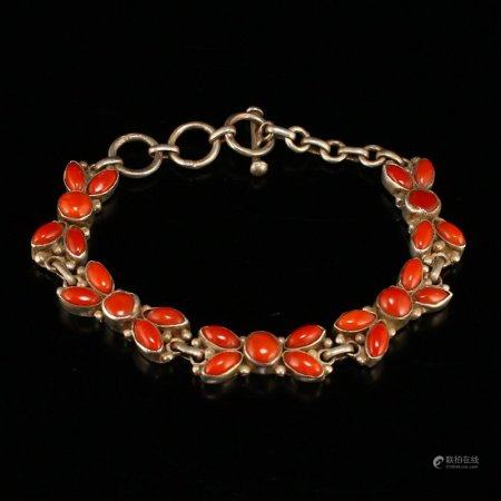 Sterling Silver Inlay Superb Natural Red Coral Bracelet