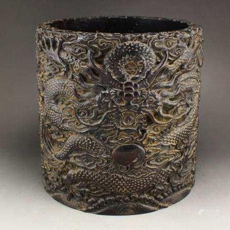 Zitan Wood Low Relief Dragon & Fireball Brush Pot