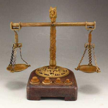 Exquisite Brass Weight Apparatus - Balance
