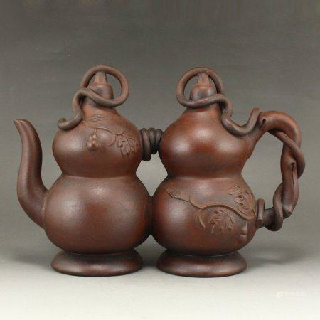 Vintage Chinese Yixing Zisha Clay Double Gourds Teapot