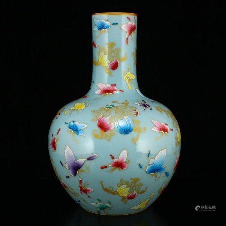Gilt Edge Blue Glaze Famille Rose Porcelain Vase