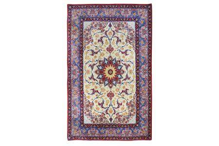 AN EXTREMELY FINE PART SILK ISFAHAN RUG, CENTRAL PERSIA
