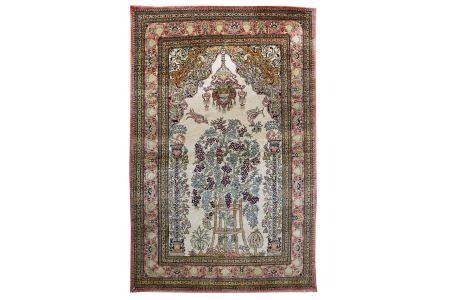 AN EXTREMELY FINE SILK QUM PRAYER RUG, CENTRAL PERSIA