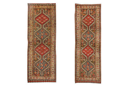 AN ANTIQUE PAIR OF HAMSEH LONG RUGS, SOUTH-WEST PERSIA