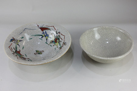 A Chinese crackleware bowl, 21cm diameter, and another decorated with warriors on horseback, stamped