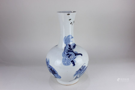 A Chinese blue and white porcelain baluster vase, decorated with animals in various poses, seal mark