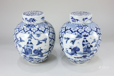A pair of Chinese blue and white porcelain ginger jars, decorated with opposing panels of figures,