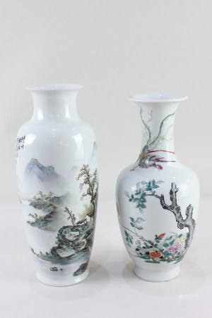 A Chinese porcelain vase, of slender shouldered form with everted rim, decorated with a