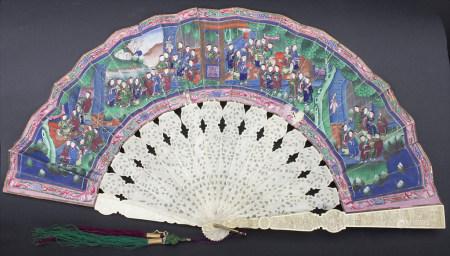Fächer in originaler Holzschatulle, China, Qing-Dynastie, 18./19. Jh.