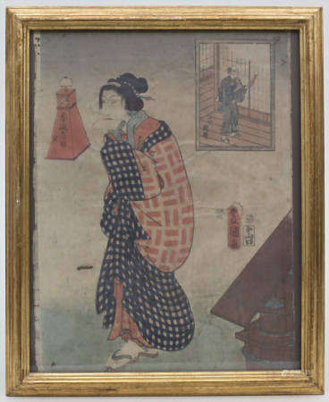 Farbholzschnitt 'Geisha'/ A coloured woodcut 'Geisha', um 1900