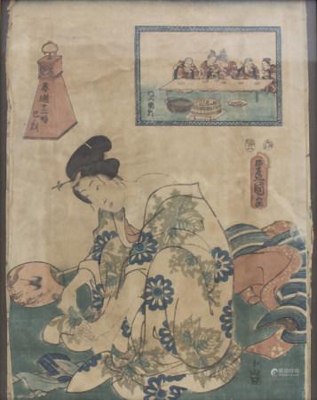 Japanischer Farbholzschnitt 'Geisha bei der Fußpflege' / A japanese woodcut 'Geisha doing pedicure'