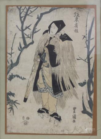 Japanischer Farbholzschnitt 'Figur in Winterlandschaft' / 'A figure in winter landscape'