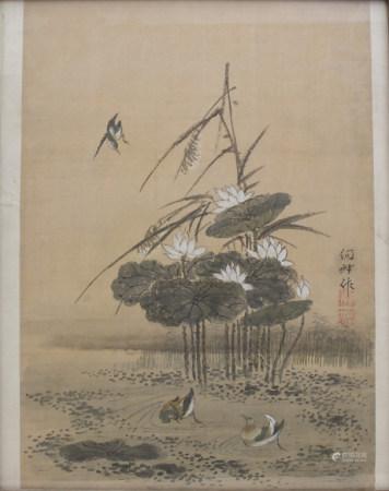 Tuschezeichnung 'Seerosenteich mit Wasservögeln' / An ink drawing 'A pond with water birds'