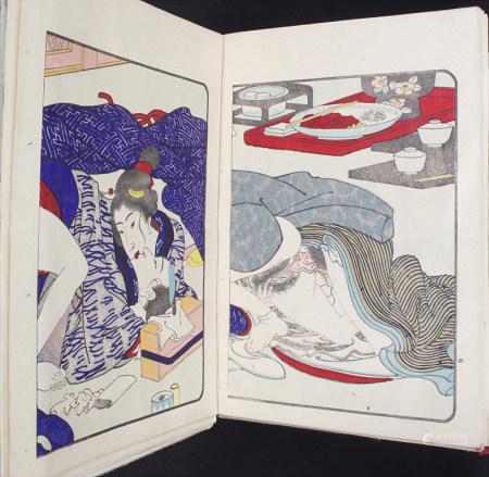 2 Bücher mit erotischen Farbholzschnitten / 2 books with erotic colour woodcuts, Japan