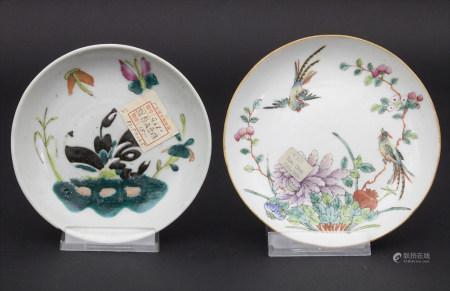 2 Schälchen 'Vogel-Strauch' und 'Schmetterling' / 2 plates 'birds with flowers' and 'butterfly', China, 19. Jh.