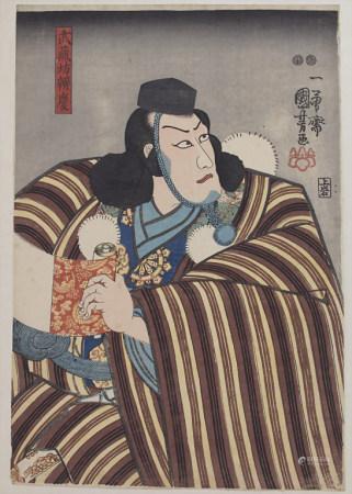 Kuniyoshi Utagawa (1797/98-1861), 'Schauspieler mit Schriftrolle' / 'An actor with scroll'