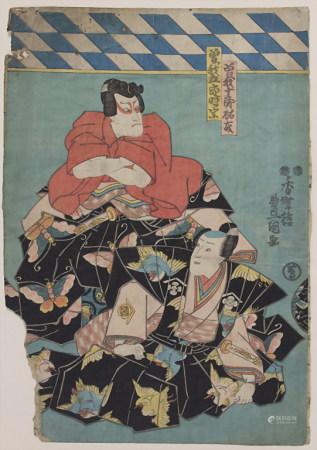 Japanischer Farbholzschnitt 'Samuraigruppe' / 'A samurai group'