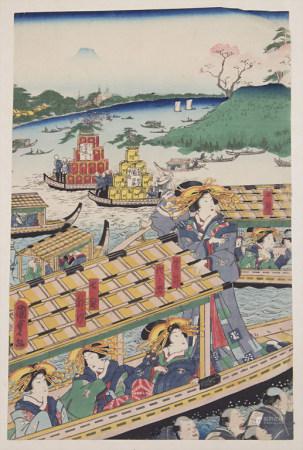 Hiroshige Utagawa (Zuschreibung / Attributed), 'Flussquerung mit Geishas' / 'River crossing and Geishas'