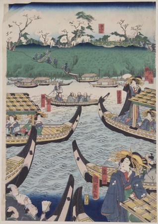 Hiroshige Utagawa (Zuschreibung / Attributed), 'Geishas auf Booten' / 'Geishas on boats'