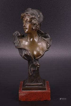 法国 - 年轻女子半身铜像 - JACOBS