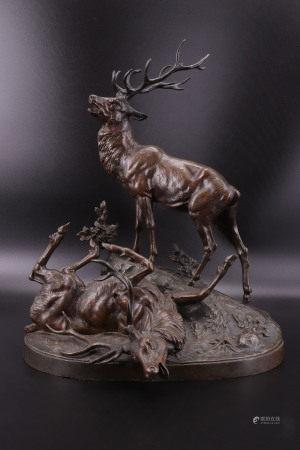法国 - 打斗的成年雄红鹿 - JULES EDMOND MASSON