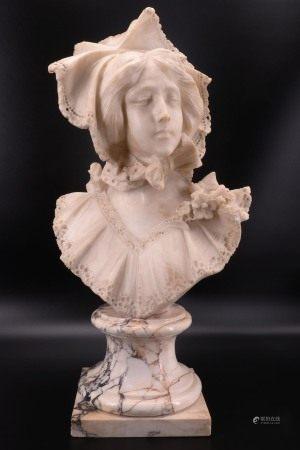 法国 - 大理石少女半身像 - Lulien