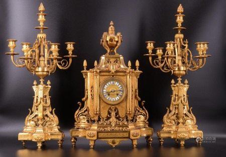 法国 - 壁炉装饰物 -  GUSTAVE ISAAC LEVY - 路易十六时期风格,古铜啡金